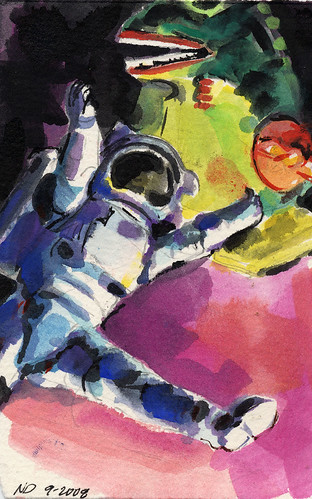 Astronaut with Godzilla