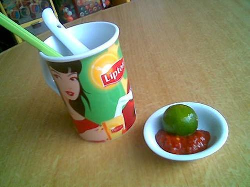 Sibu's e-Cafe Sarawak laksa - sambal belacan