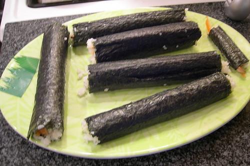 Sushi rolls ready for cutting