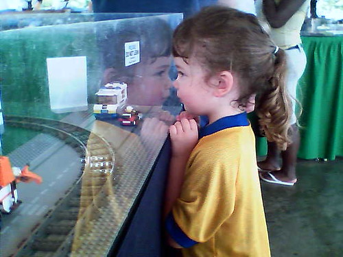 Jocelyn looking at the lego train.