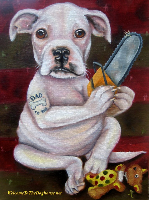 Pitbull Puppy Painting. This client LOVES horror flicks, tattoos and Bob