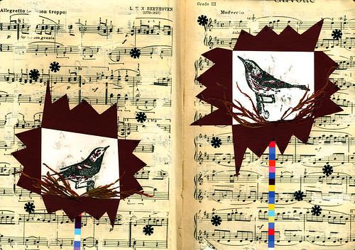 Weekly moleskin collage - Birds & music