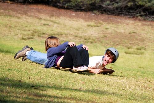 sliding down