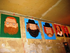 Some beardy art on the wall, Craft Night, Notting Hill Arts Club, July 7, 2008