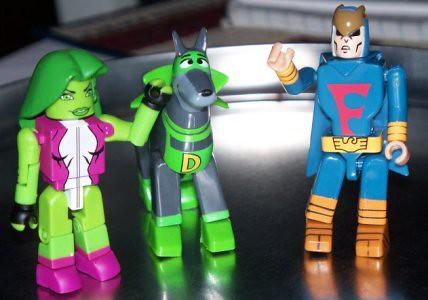 She-Hulk pets Dynomutt, Blue Falcon is jealous