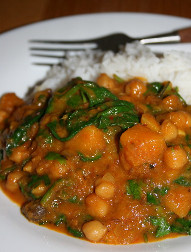 Butternut Squash, Chickpea and Spinach Curry