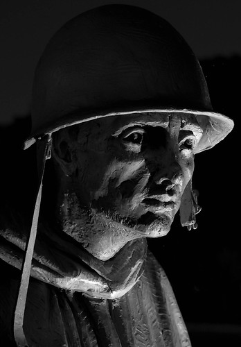 Korean War Memorial Soldier at night