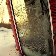 (super ape) Tags: winter sunset red snow ny newyork tlr window glass car rollei truck dusk decay lot dump upstate crack junkyard windshield vb shatter gossen wny expiredfilm rolleicord fluvanna lunapro extinctfilm fujinhg400 townlineautoparts