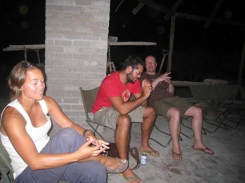 Ingrid avoids the flash while Richard (UK, bearded) and Peter (Holland) manage OK