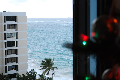 Surfers seen from the window