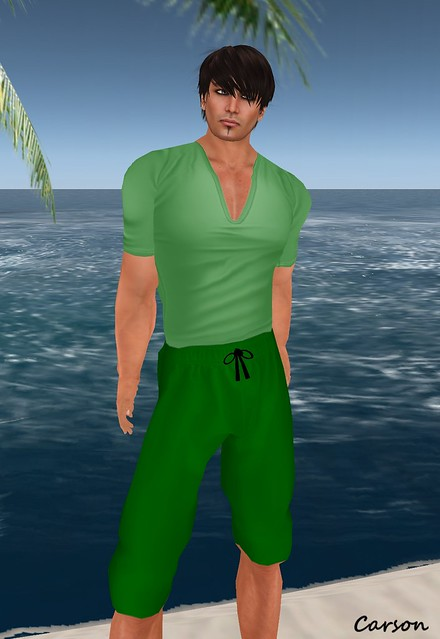 Wilsons Sea Foam Shorts and Green V Neck Shirt