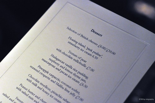 Maze's dessert menu