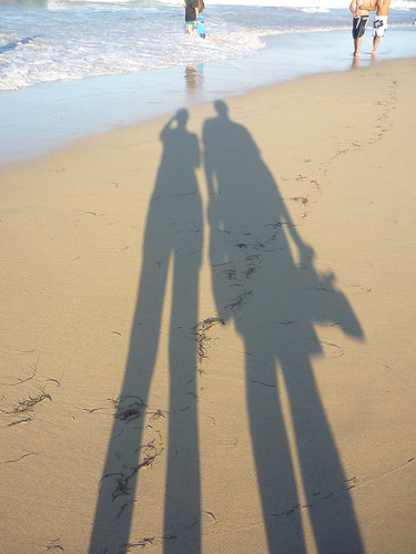 Our long shadows on the beach