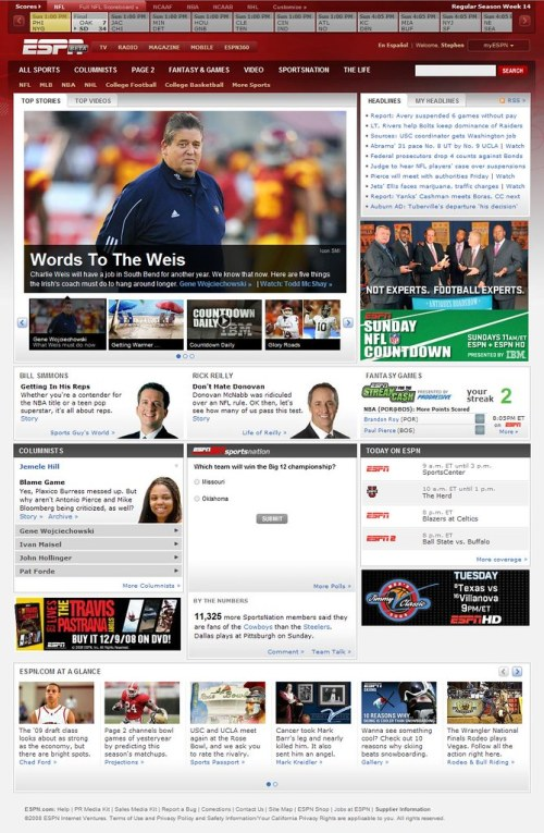 ESPN Beta Front Page