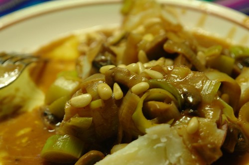 Leeks and Mushrooms in Miso Sauce