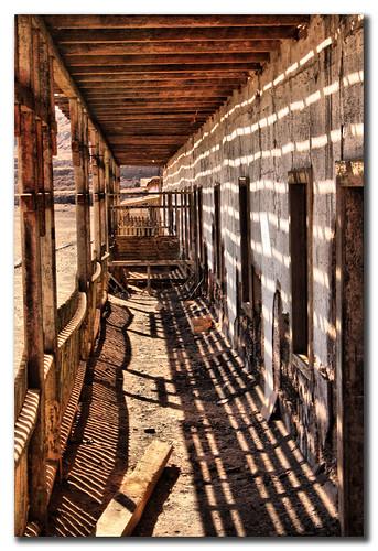 Casas en el pueblo minero de Humberstone, Chile