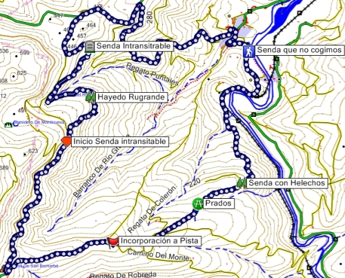 Mapa del recorrido por el Valle de Udalla