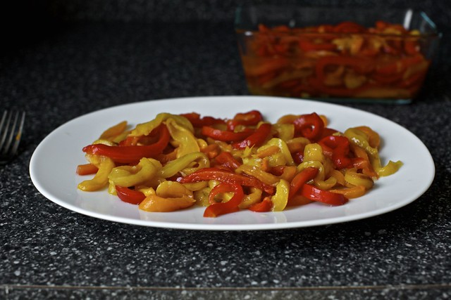 slippery roasted peppers