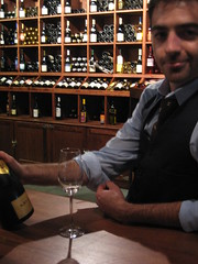 Lance pours KRUG (in a fancy vest)
