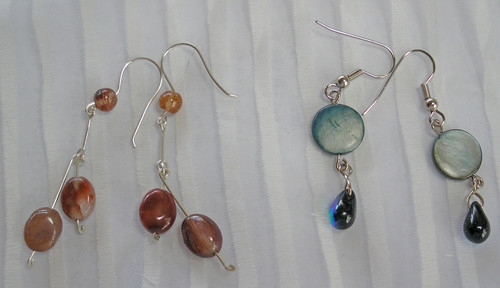 For my SIL - Sterling silver, jasper and agate earrings with ear wires that I crafted (left); Shell and glass bead earrings (right)