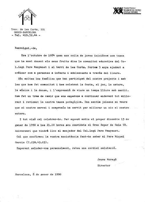 Carta 5è aniversari esplai
