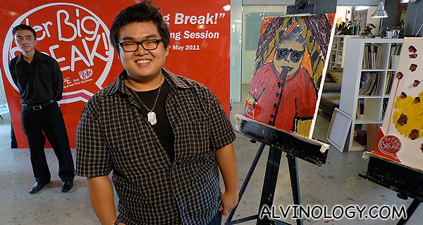Yong Wei with a narcissitic painting of himself