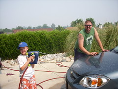 Bug and Daddy Washing the Car