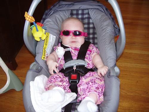 Trying on sunglasses from Grandmo - still too big