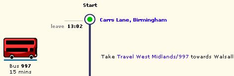[Transport Direct web page showing Carrs Lane as start of route 997]