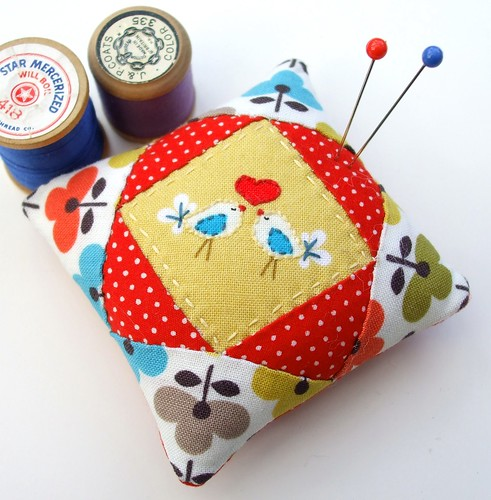 Pretty birdie pincushion