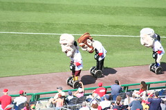 Presidents race riding segways at Washington Nationals game