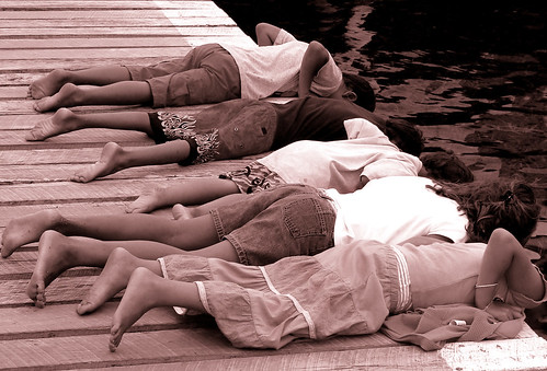 Laid out on pier