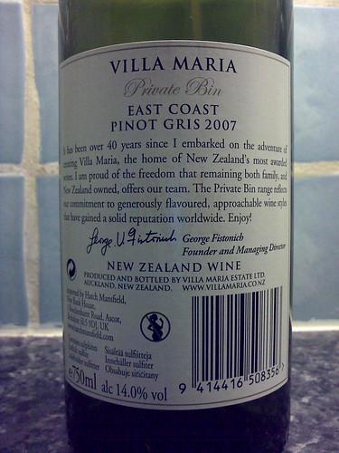 Villa Maria Private Bin Pinot Gris 2007 back label