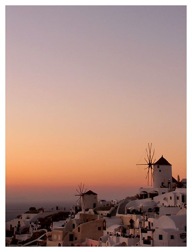 Oia windmills at sunset by you.