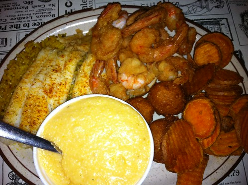 Grilled flounder, fried shrimp, sweet potato fries, and cheese grits
