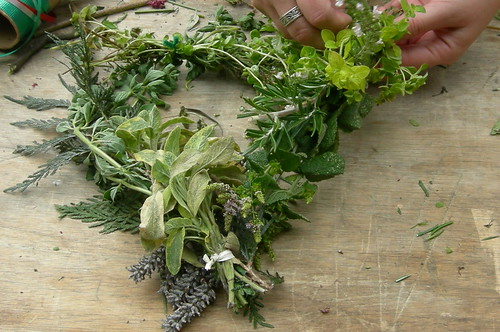 Herb Wreath in Progress