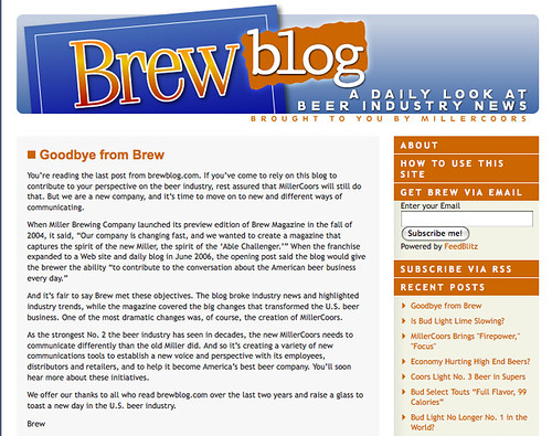 Miller Discontinues Their Blog