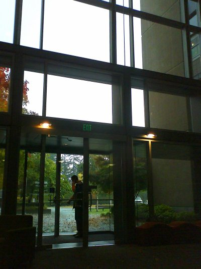 The back foyer of building 34 - it is open and glass fronted all the way up four floors.