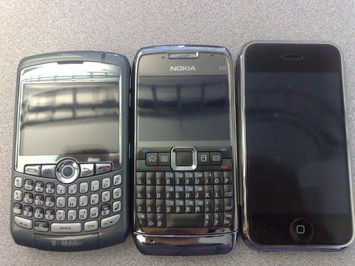 Nokia E71, Blackberry Curve, iPhone