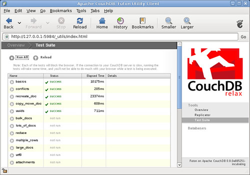 CouchDB latest latest running its tests!