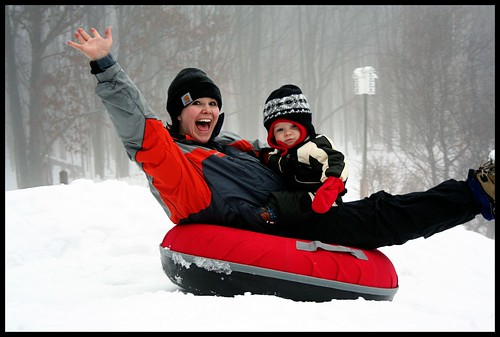 Mom and C Sledding
