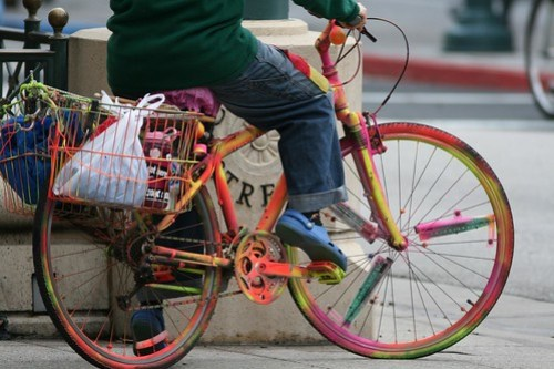 Venus and her colored bike