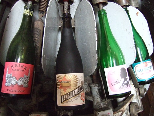 Vintage bottles at the Cantillon Brewery