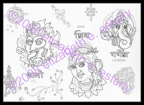 Tattoo flash: hindu gods (line) by intellectual crime