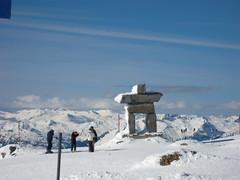 Inukshuk at top of Peak chair