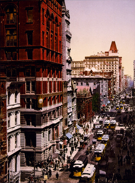 Looking up Broadway from Dey Street, New York City, 1900