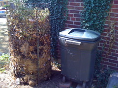 our 2 compost bins (static and maggot/worm)