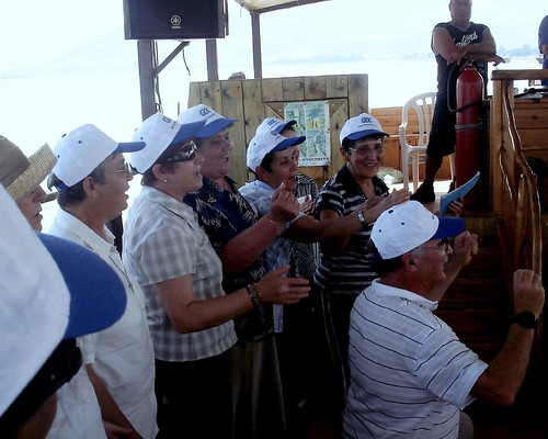 singing the portuguese anthem on the Jesus Boat