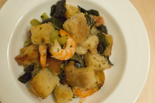 bread stuffing with shrimp, bacon and collard greens (by bookgrl)