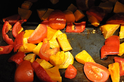 roasting tomatoes and peppers